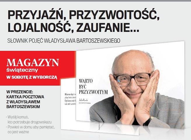 """Pocztówka z wizerunkiem Władysława Bartoszewskiego dodatkiem do """"Gazety Wyborczej"""""""