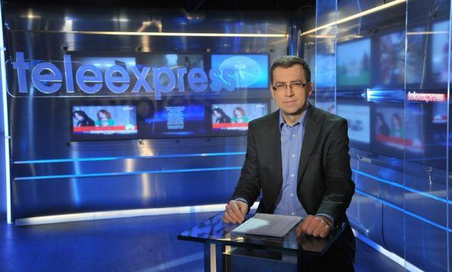 "Maciej Orłoś w studiu ""Teleexpressu"""