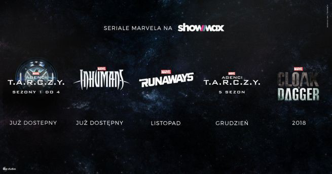 """Inhumans"", ""The Runaways"", ""Agenci T.A.R.C.Z.Y."" i ""Cloak&Dagger"" w Showmax"