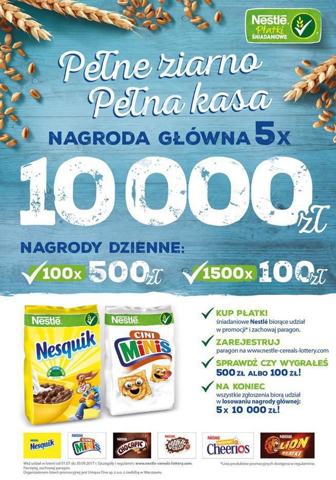 Nestle premiuje gotówką zakup płatków śniadaniowych