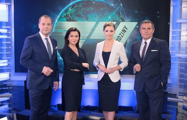 """Jarosław Kulczycki, Beata Tadla, Joanna Dunikowska i Marek Czyż, prowadzący """"24 godziny"""""""