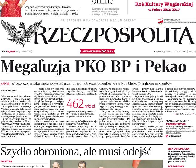 """""""Rzeczpospolita"""" ze sprostowaniami dwóch tekstów o fuzji PKO BP i Banku Pekao. """"To fake news"""""""