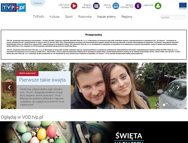 Telewizja Polska przeprasza prezesa Monolith Films za naruszenie dóbr osobistych