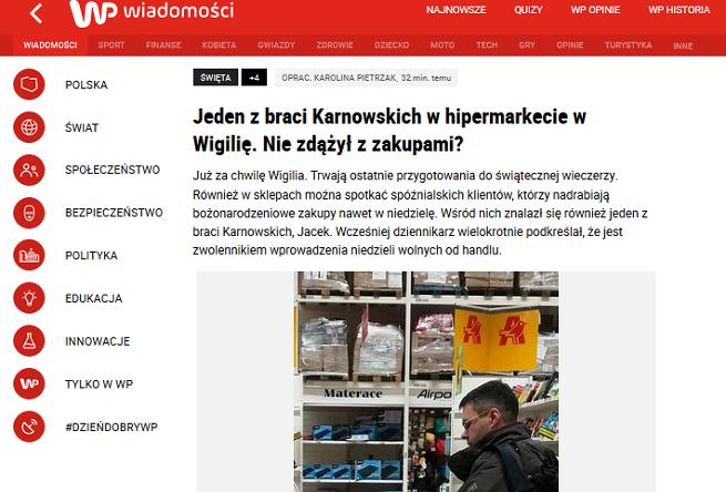 Pierwsza wersja tektu WP.pl o wigilijnych zakupach Michała Karnowskiego