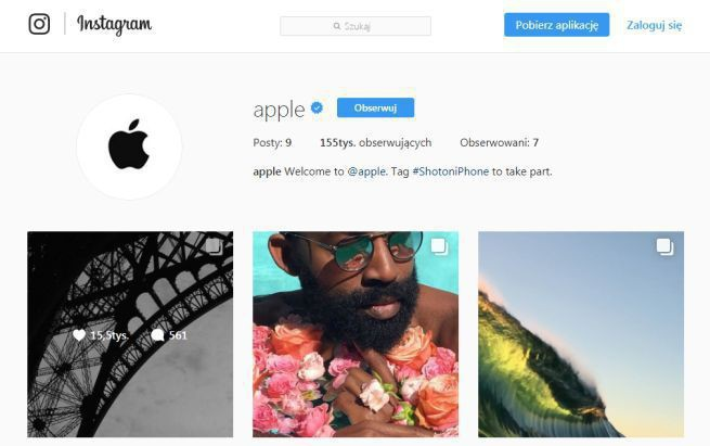 Dopiero 6 lat po powstaniu Instagrama Apple uruchamia na nim profil