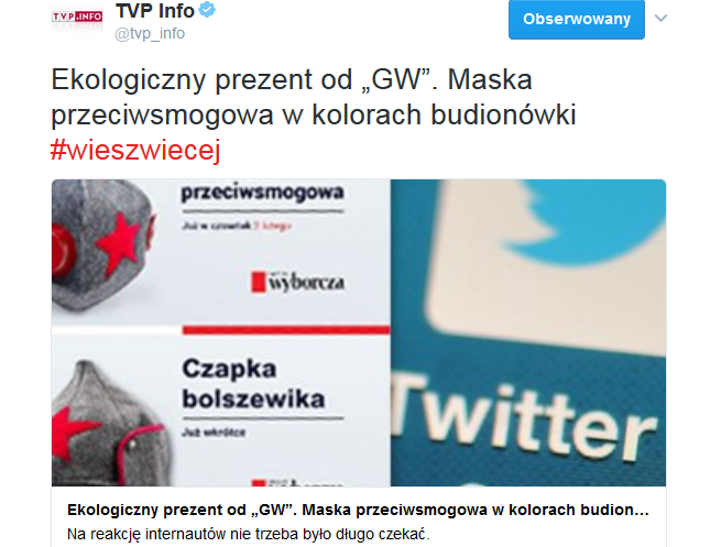 """Dziennikarze wyśmiali sugestię TVP Info, że maseczka z """"Gazety Wyborczej"""" przypomina czapkę Armii Czerwonej"""