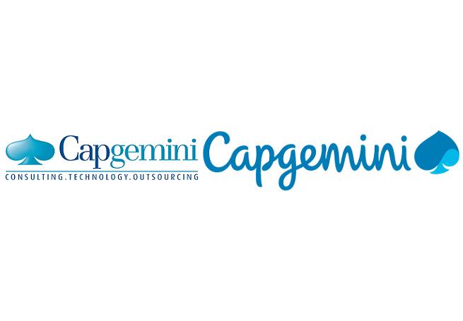 Logo Capgemini: po lewej starsza wersja, po prawej nowa