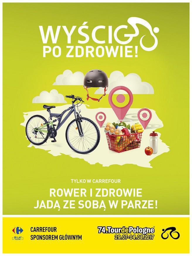 Carrefour Polska promuje się jako sponsor Tour de Pologne i zachęca do jazdy rowerem