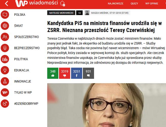 """Wirtualna Polska skrytykowana za wytknięcie nowej minister finansów, że urodziła się w ZSRR. """"Szokujący atak"""""""