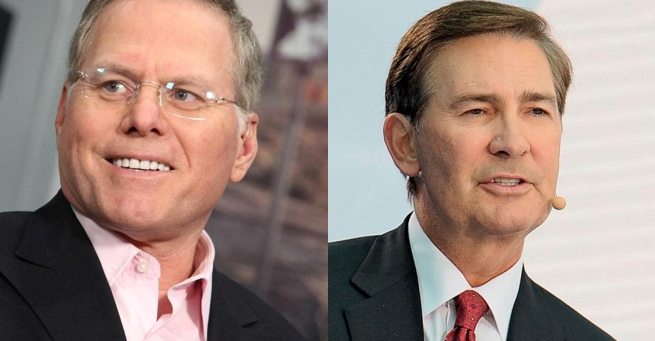 Od lewej: David Zaslav (CEO w Discovery Communications) i Kenneth W. Lowe (prezes i CEO Scripps Networks Interactive)