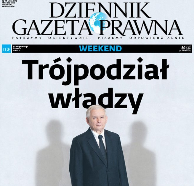 """Okładka """"Dziennika Gazety Prawnej"""" z Jarosławem Kaczyńskim i trójpodziałem władzy doceniona także przez konkurentów """"DGP"""""""