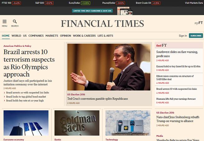 """""""Financial Times"""" odcinając dostęp do swojego serwisu skłonił internautów do wyłączenia adblocków. Eksperci: to słuszna droga"""