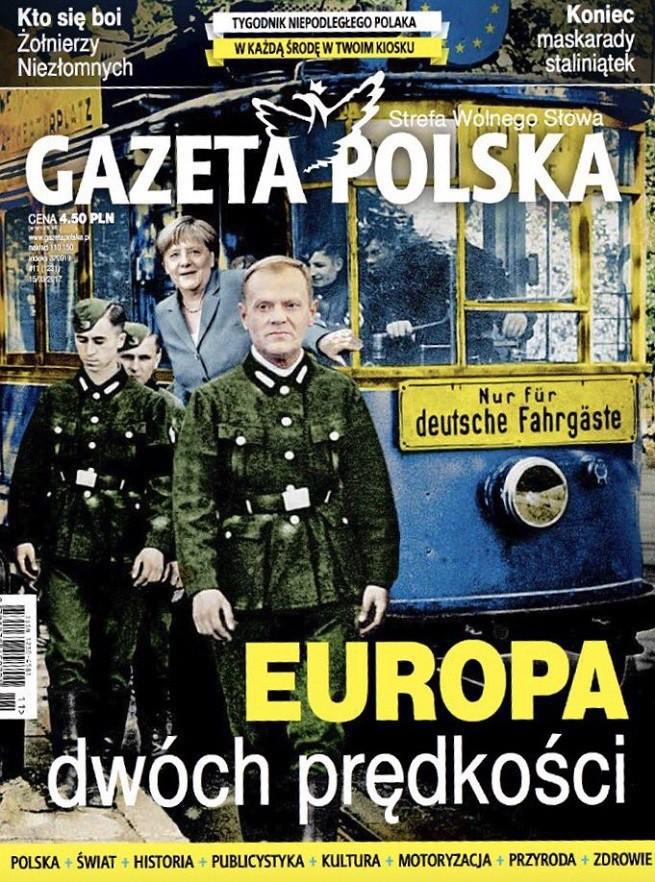 """Dziennikarze krytykują okładkę """"Gazety Polskiej"""" z Tuskiem i Merkel w tramwaju """"nur für Deutsche"""""""