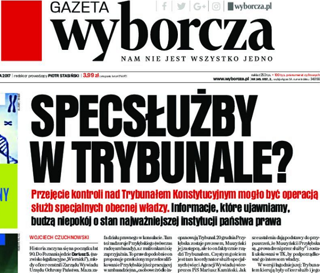 """""""Gazeta Wyborcza"""" pisze bez dowodów o związkach sędziów Trybunału Konstytucyjnego ze spec służbami. """"Fałszywe insynuacje"""""""