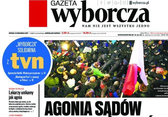 """HFPC: kara KRRiT dla TVN24 to poważna ingerencja w wolność słowa. """"Gazeta Wyborcza"""" solidaryzuje się z TVN"""