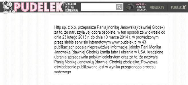 Pudelek.pl zaczął przepraszać Monikę Janowską na stronie głównej