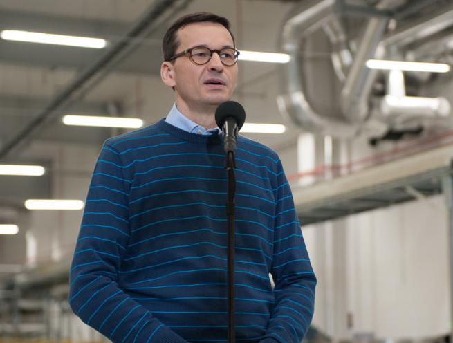 Mateusz Morawiecki w fabryce Mlekovity, fot. KPRM