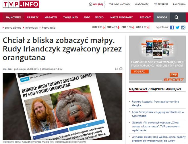 Po kpinach dziennikarzy serwis TVP Info usunął tekst oparty na zmyślonej informacji z portalu satyrycznego