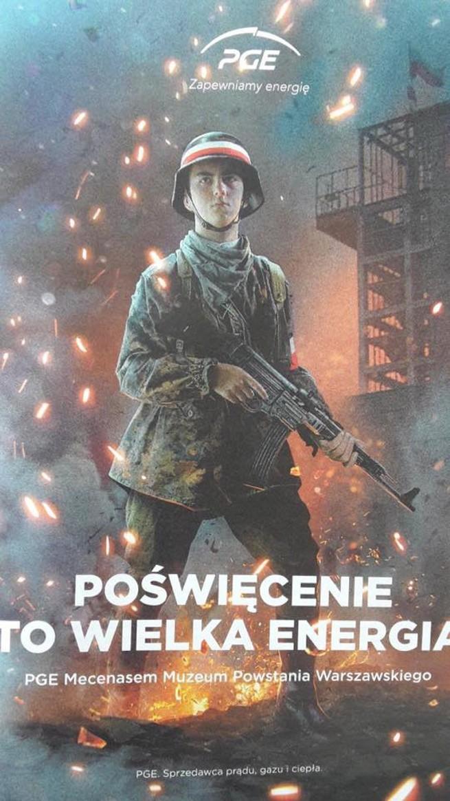 PGE tłumaczy reklamę: to nie powstaniec warszawski, tylko członek grupy rekonstrukcyjnej. Eksperci: kampania jest obrazoburcza i prymitywna