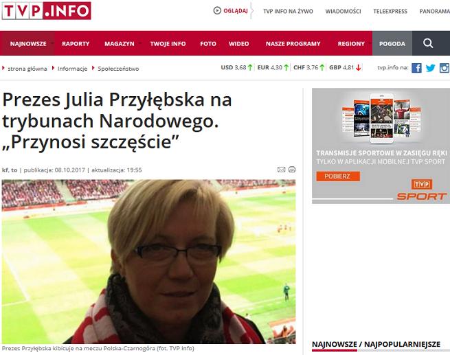 TVP Info wyśmiane za tekst, że na meczu Polska - Czarnogóra była Julia Przyłębska
