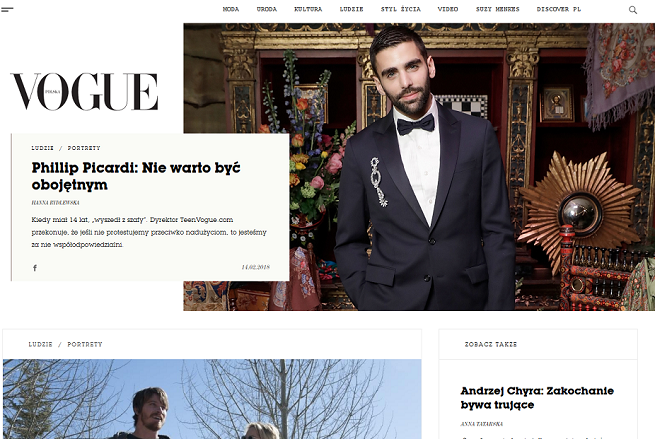 """Polski """"Vogue"""" w internecie: elegancki, tradycyjny, bez zalewu reklam (opinie)"""