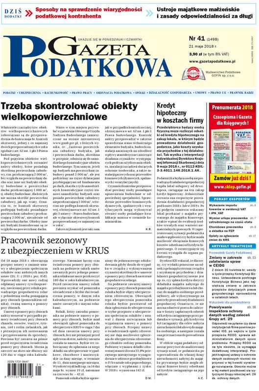 Gazeta Podatkowa -                     41/2018