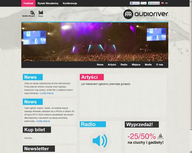 750decfcd6 Lifting logo i witryny internetowej festiwalu Audioriver zrealizowała  agencja yellowmonkey. Kodowaniem strony www zajęła się firma 76SG.